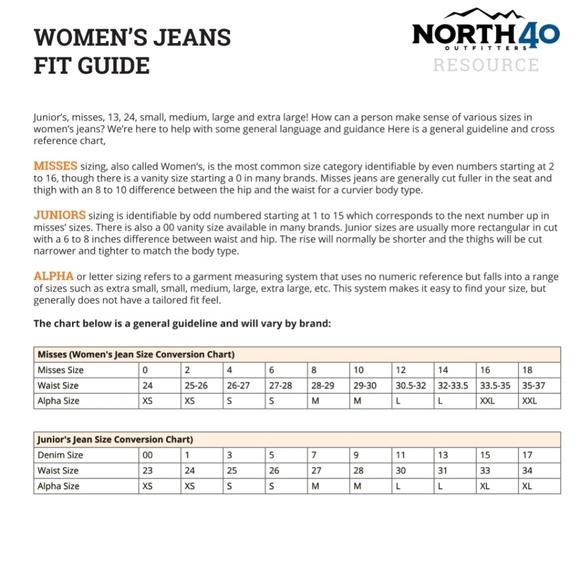 Juniors To Women Conversion Chart